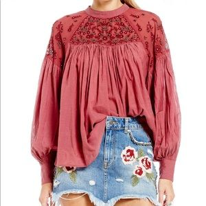 Free People | Have it my Way Embroidered Blouse M